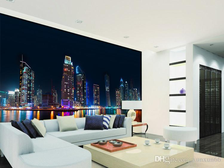Wholesale HD Vintage City Night Scenery 3d Wall Mural for Living Room Sofa Background 3d Photo Mural Papel de parede Wall Fresco