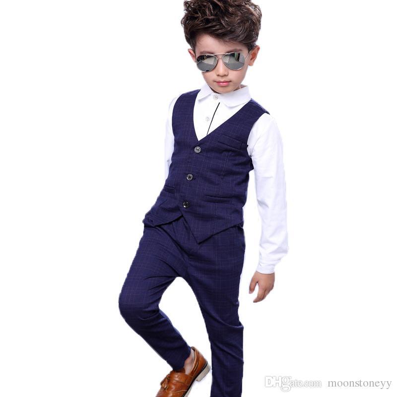 541246609e Compre Meninos Do Bebê Terno Formal Crianças Vestido De Aniversário Roupa  Set Camisa Colete Calças Cavalheiro Crianças Crianças Trajes De Casamento  Roupas ...
