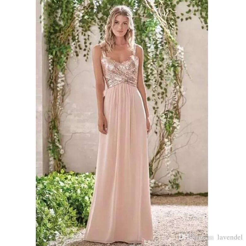 2018 New Rose Gold Bridesmaid Dresses A Line Spaghetti Straps Backless Wedding Party Dress Sequins Beach Chiffon Maid of Honor Gowns