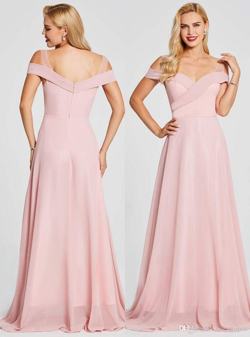 Pink South Africa Style Chiffon Coral Bridesmaid Dresses Plus Size ...