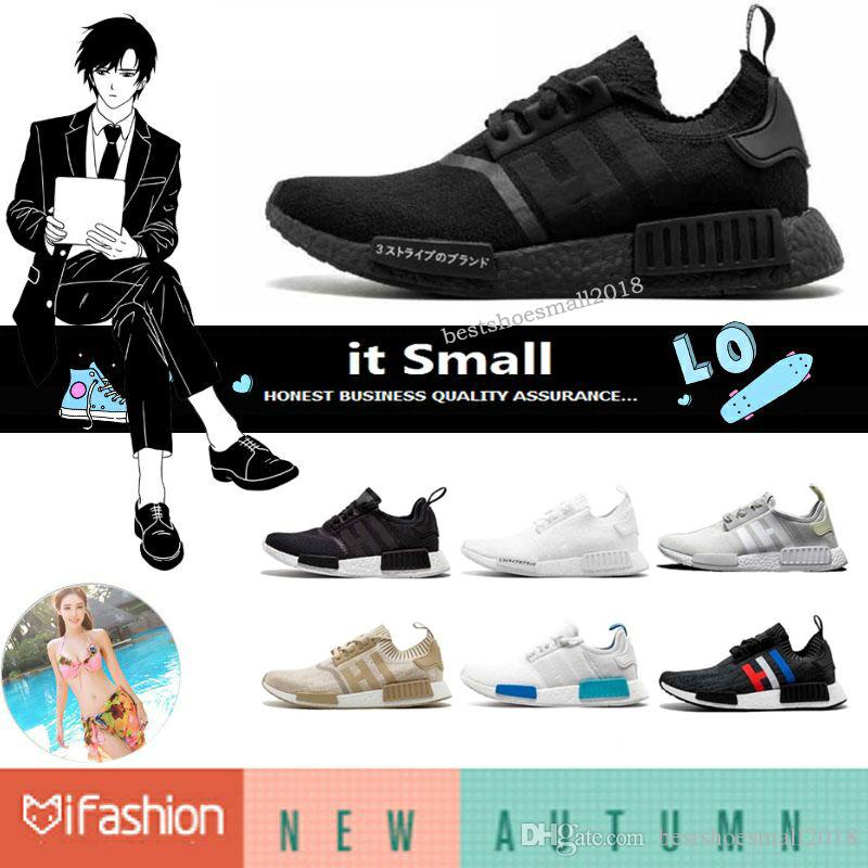 d2cbb389f 2018 Wholesale NMD R1 Primeknit Top Quality Running Shoes Classic Color  Mesh Triple White Cream Salmon R1 R2 Athletics Sneakers US 5 11.5 From ...