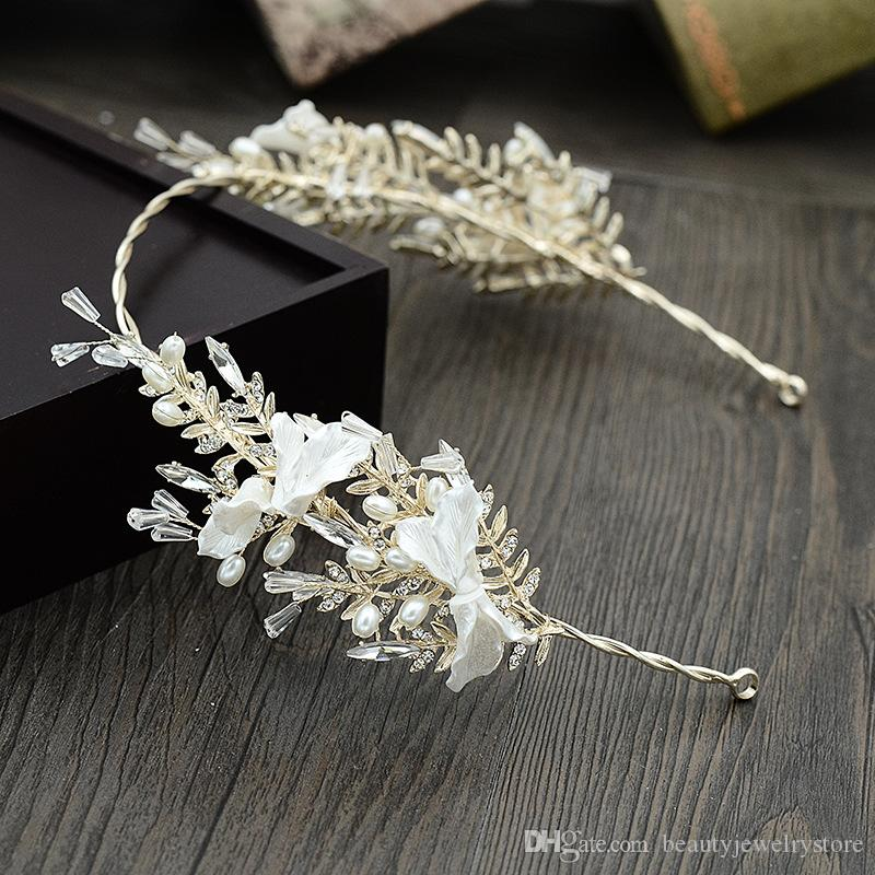 Dazzling Beaded Pearls Headband Wedding Accessories Vintage Hair Jewelry with Shell Special Occasion Hair Jewelry for Ladies