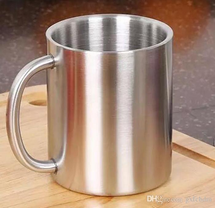 Doppelter Edelstahlbecher 220ML Anti-heißer beweglicher Becher-Schalen-Doppelwand-Reise-Kaffeetasse-Tee-Schale GX08