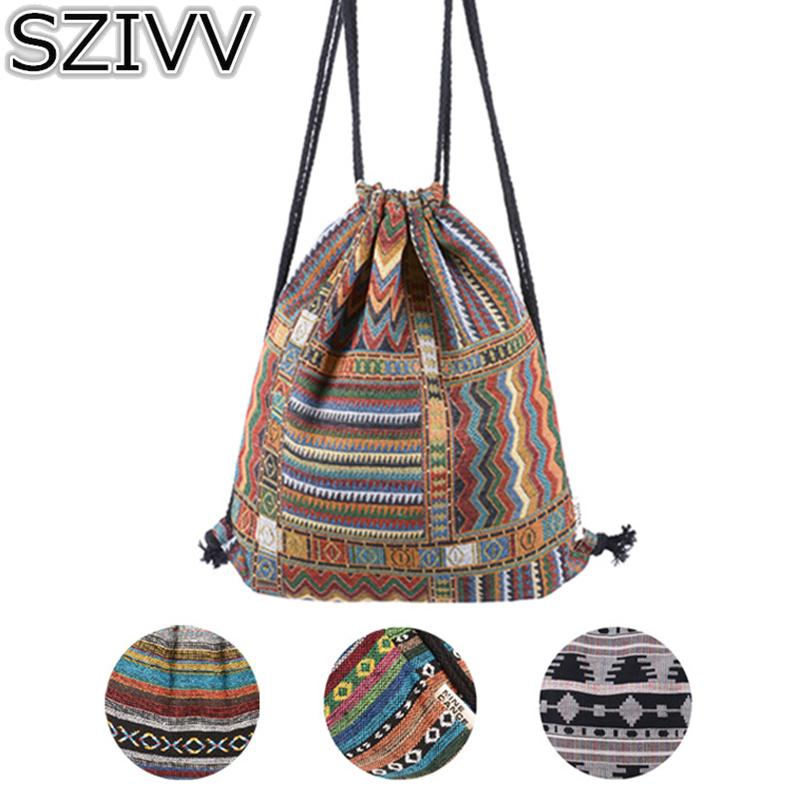 870c5ec6ed1b SZIVV Women Vintage Geometric Drawstring Backpack Gypsy Bohemian ...