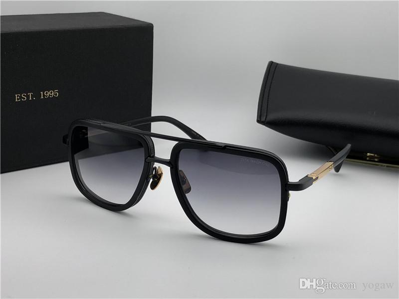 Mens Matte Black Gold/Grey Shaded Sunglasses 2030 Titanium 59mm Fashion Square Sunglasses Eyewear with Case