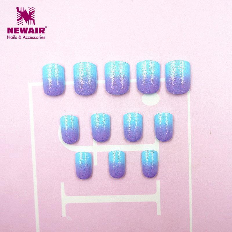 New Kids False With Design Nail Tips Blue Purple Short Full Cover