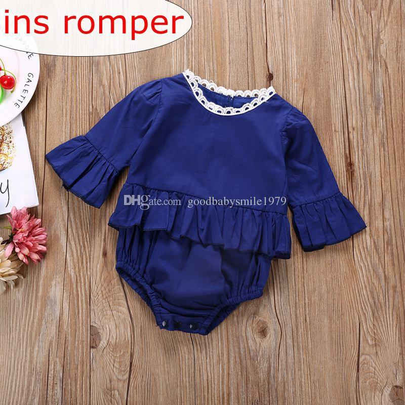 ed3ac3f9cc5a 2019 Ins Kids Girls Royal Blue Lace Rompers Baby Girl Rompers Flutter  Sleeve Jumpsuits Kids Ruffle Bodysuits Childrens Clothes Toddler Onesies  From ...