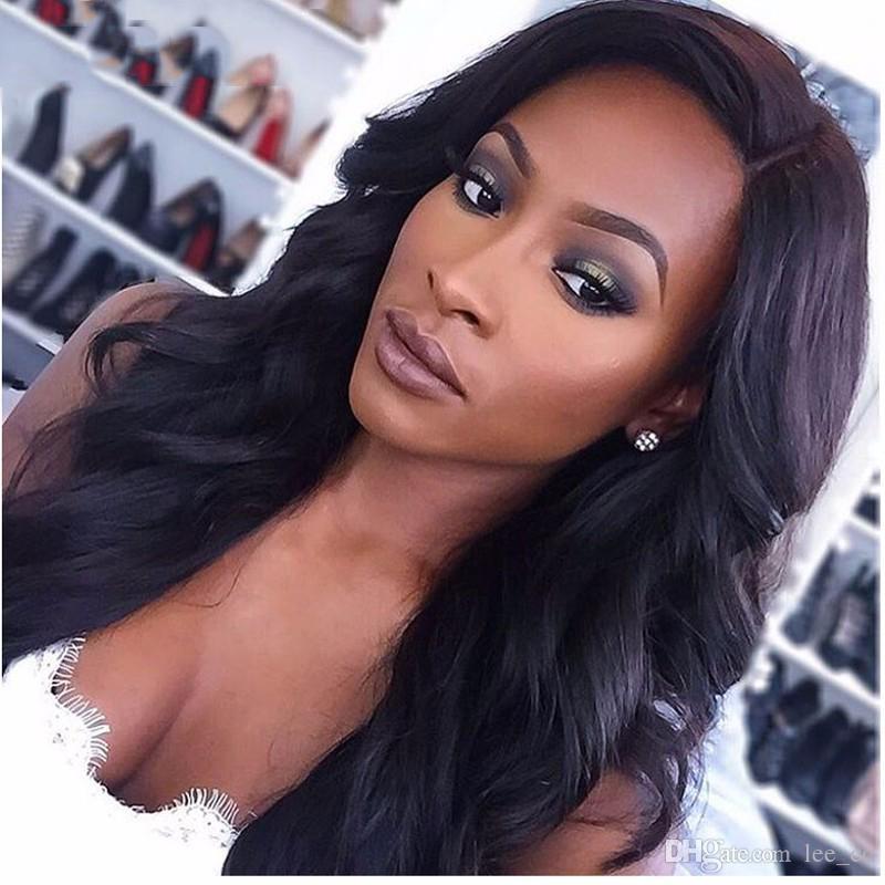 Gluelss Full Lace Perruques De Cheveux Humains Pour Les Femmes Noires Brésilienne Vague Naturelle Perruque de Cheveux Remy Pré Plucked Hairline