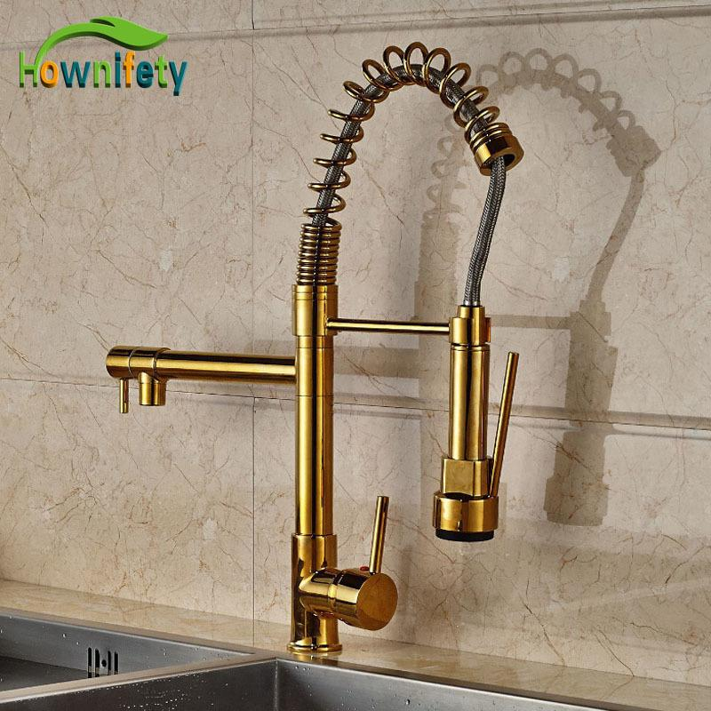 2018 New Design Gold Finish Pull Down Sprayer Kitchen Faucet Mixer