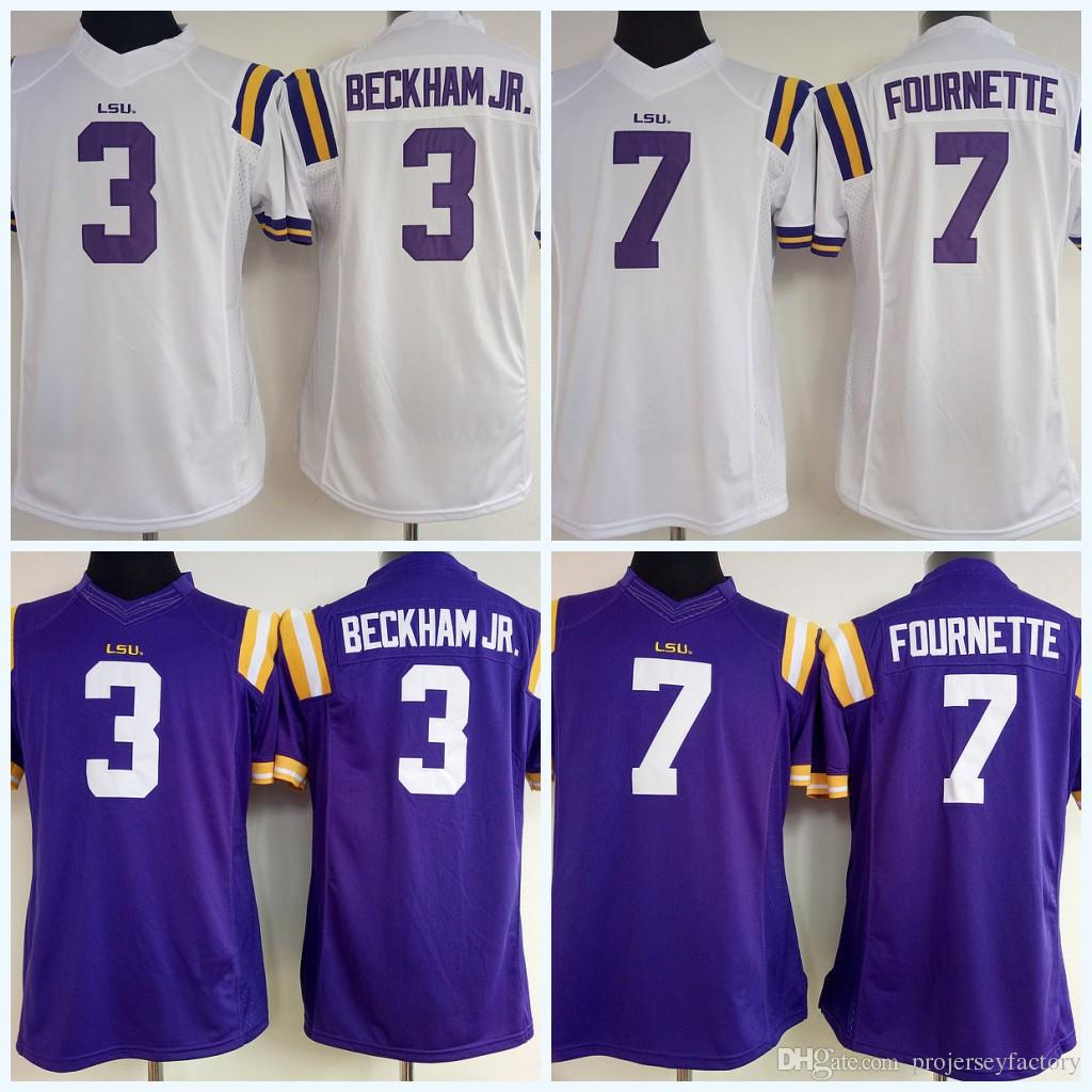 new arrival c23f7 ef73c Womens LSU Tigers 3 Odell Beckham Jr. 7 Leonard Fournette NCAA College  Football Jersey White Purple Customized High Quailty Fast Shipping