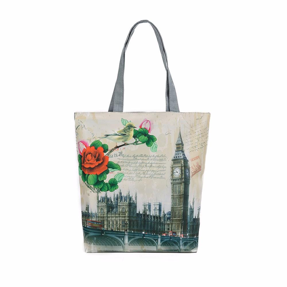 Kadın Alışveriş Çantaları Basit Büyük Kapasiteli Tuval Casual Tote Geniş Moda Londra Big Ben Baskı Tasarım bolsa feminina