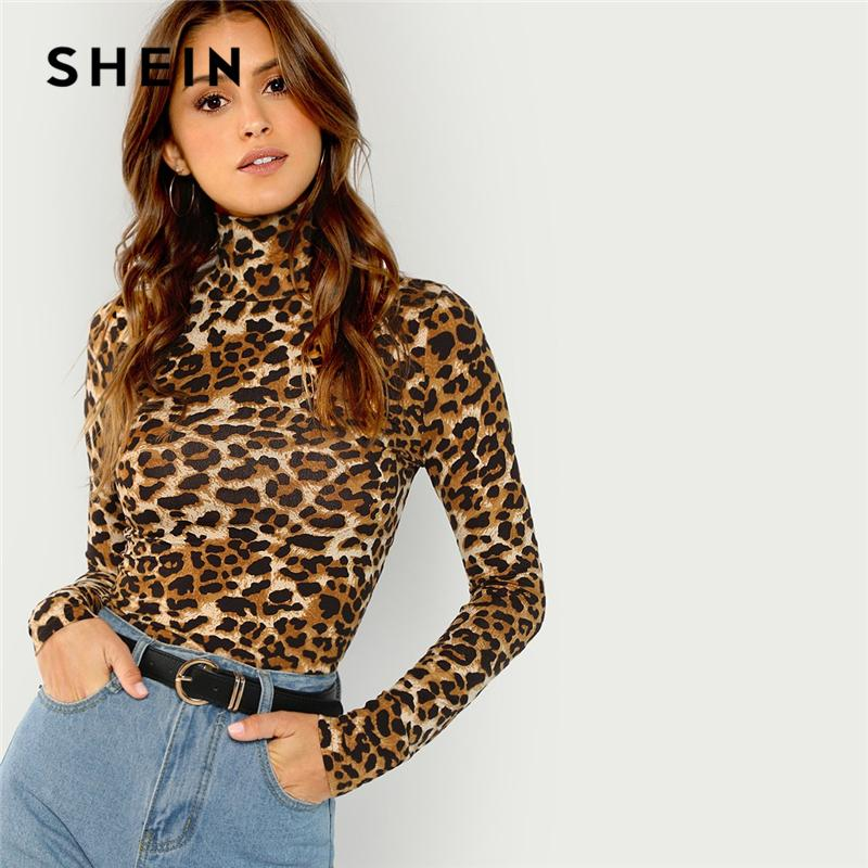 76cb0c98d2d9 SHEIN Brown Highstreet Office Lady High Neck Leopard Print Fitted Pullovers Long  Sleeve Tee 2018 Autumn Casual Women T Shirt Top Womens Shirt T Shart From  ...