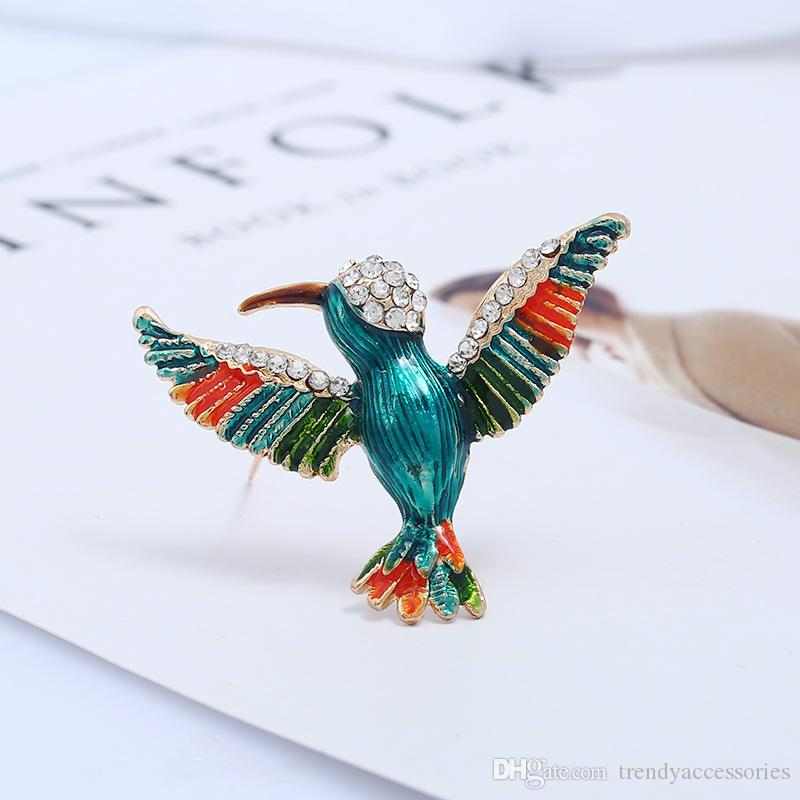 Antique Gold Tone Bird Hummingbird Multi Color Enamel Brooch Pin