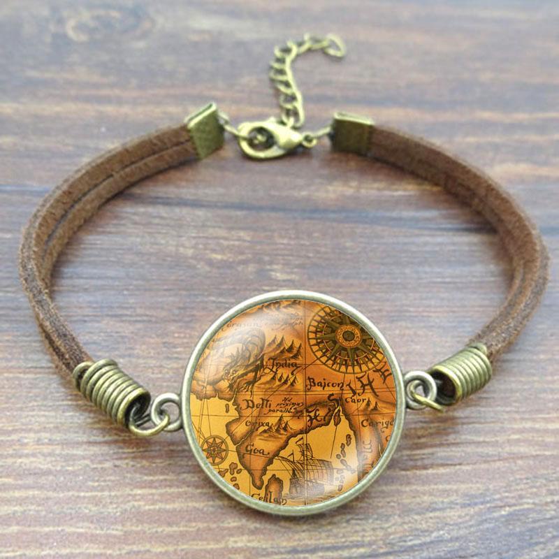 Vintage Globe Charm Bracelet Planet Earth World Map Art Glass Dome Fashion Jewelry Brown Rope Charm Bracelet Women Gift Pulseras