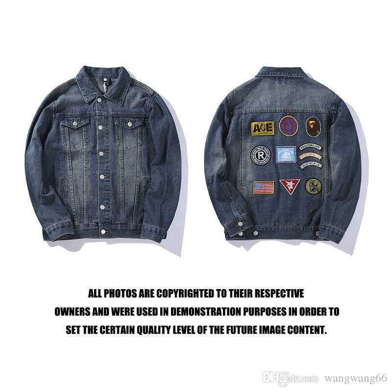 5697e2b768 2018 Autumn And Winter New Japanese Street Fashion Brand Badges Dark Denim  Jacket Men And Women Casual Fashion Trend Jacket. Color  Picture Denim Coat  With ...