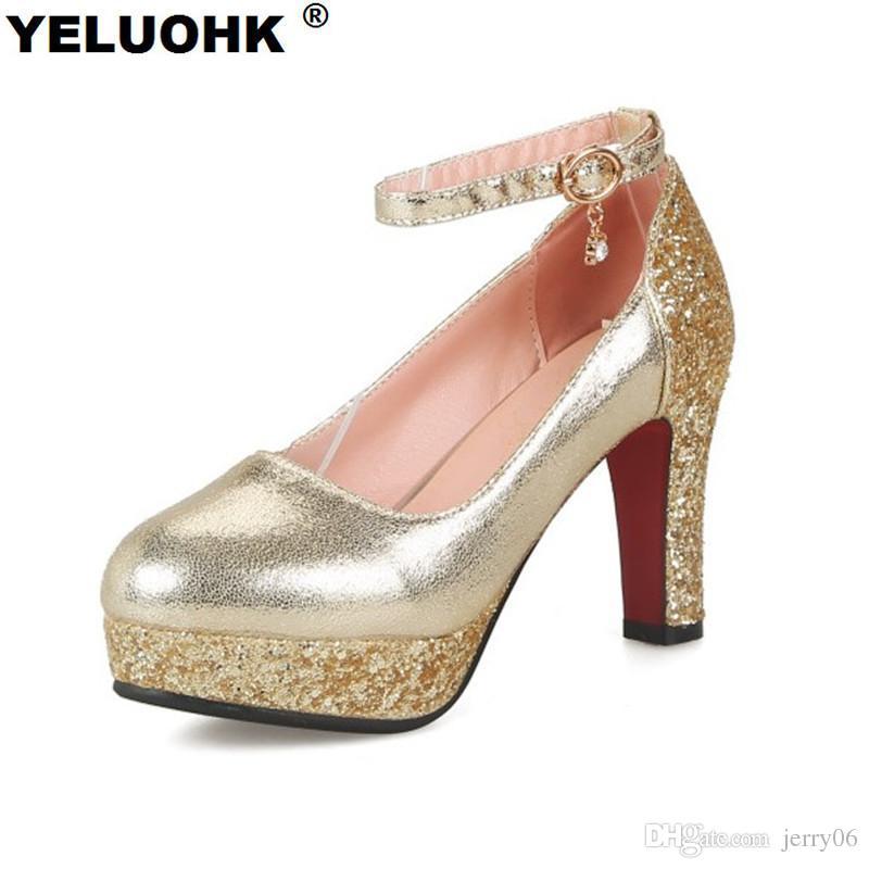 518d23676 Large Size Bling Wedding Shoes Women High Heels Platform Ankle Strap Ladies  Shoes Silver Pumps Fashion Women Shoes 2018 Women Shoes Boots For Men From  ...