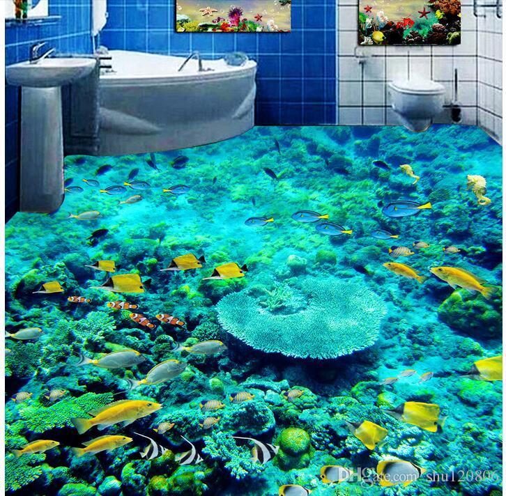 piso pvc 3d sob encomenda da foto murais de parede a parede impermeável chão adesivo mundo Submarino cardume coral 3d papel de parede para paredes 3 d tecido de impressão