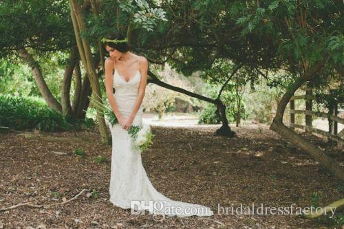 Mermaid Backless Lace Beach Wedding Dresses 2018 New Spaghetti Straps Bridal Gowns Custom Made