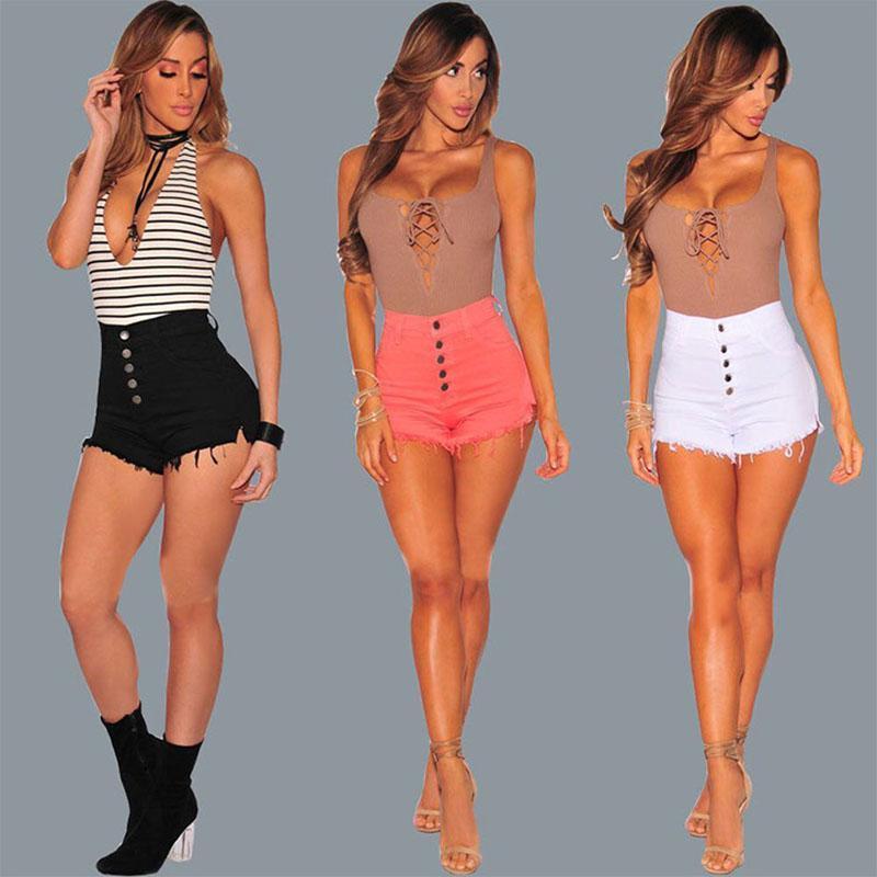 2018 Women Short Jeans 여성을위한 패션 하이 웨스트 데님 짧은 바지 여름 술 느슨한 짧은 청바지 섹시한 나이트 클럽