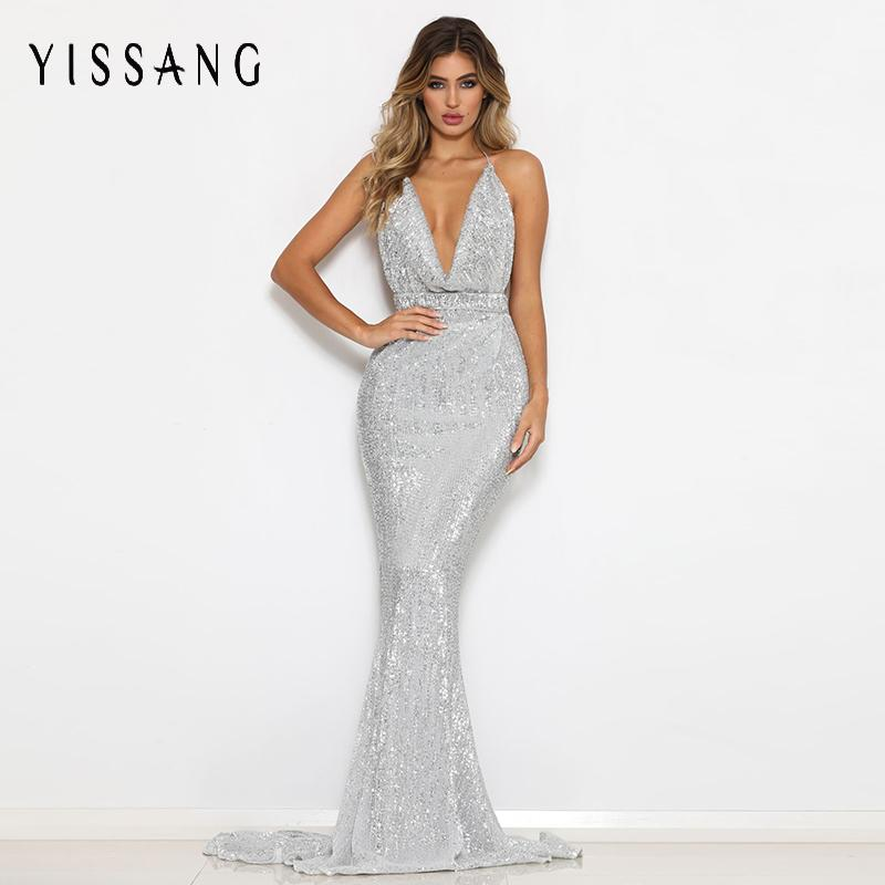 2019 Yissang 2018 Black Red Sexy Backless Women Dress Summer High Waist Sequin  Dresses Maxi Long Night Party Woman Elegant Dress From Piterr 14dbf03f669e