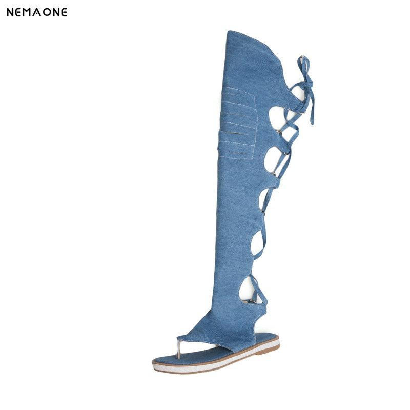 15e97e6e1afdb2 NEMAONE Women Thong Shoes Denim Summer Boots Low Heels Over The Knee High  Boots Woman Black Blue Beige Rain Boots For Women Wedge Booties From  Wearbag
