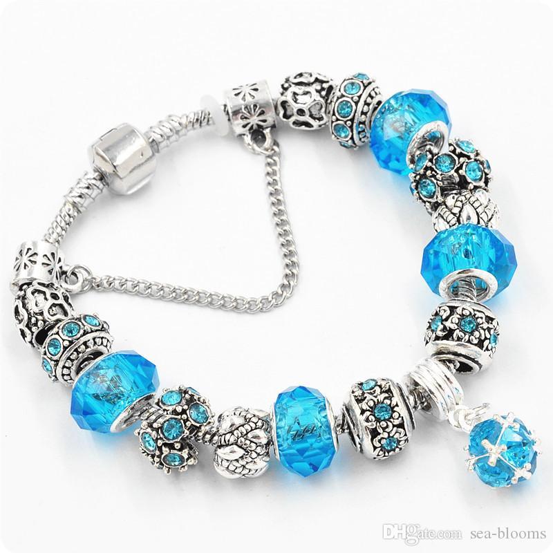 es de plata antigua original de las mujeres de cristal pulsera del encanto del brazalete de la pulsera del encanto regalo de Navidad envío gratis D609S