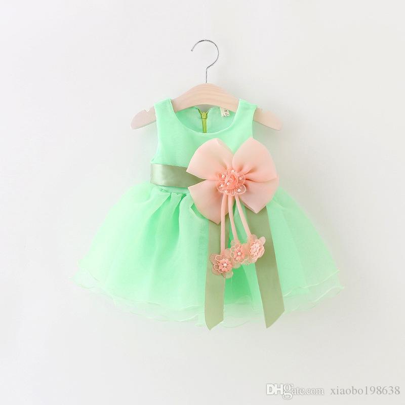 Neue infant kinder mädchen kind a-line dress sleeveless floral bedruckte kind prinzessin party dance dress großen bogen stil 1-3y