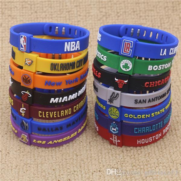 Einstellbare Basketball Sterne Armband Silikon Gummi Sport Armband Kobe James Unterschrift Charme Armbänder für Basketball Fans 49 Farben