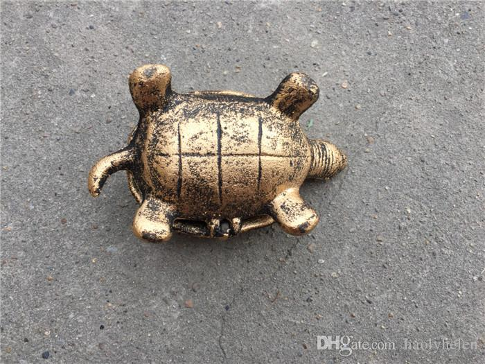 Small Cast Iron Turtle Ash Reciever Holder Metal Ashtray with Cover Antique Bronze Bar Pub Club Home Table Decoration Old Gold Gift