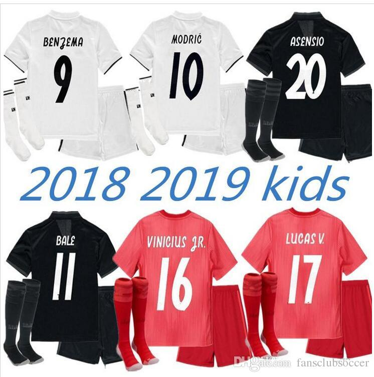 251a548eea40 Kids Kits Real Madrid Soccer Jersey 2018 2019 RONALDO MORATA MARCELO ...