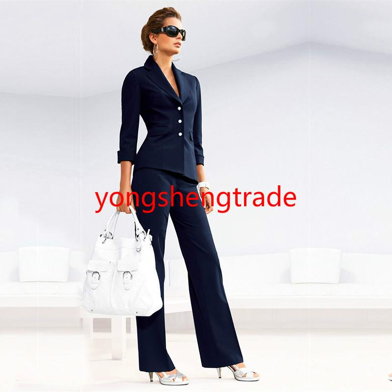 2019 Women Pant Suits Female Suit Dress Notch Lapel Navy Women S