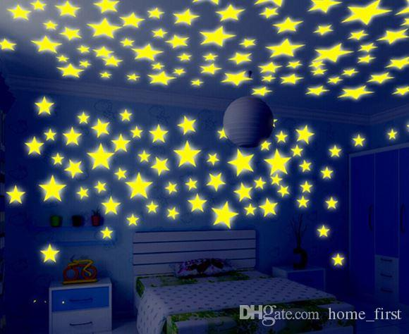 Colorful Environmental Stars Luminous Fluorescent Wall Stickers Decal Glow In The Dark Baby Kids Bedroom Home Decor 100pcs/Set
