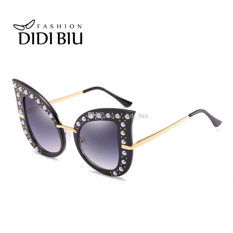 96299a6b52 DIDI Women S Designer Brand Sunglasses Fashion Cat Eye Plastic Metal Frame  Transparent Glasses Ladies Gradient Oversized Pearl WN939 Prescription  Glasses ...