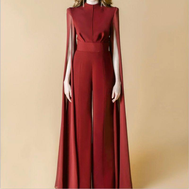 78a786db50 New women chiffon jumpsuits wine red black straight ruffless evening jpg  800x800 Wine chiffon jumpsuits