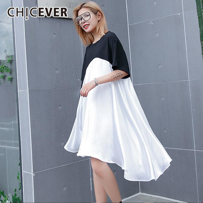 4d64528b97f65 CHICEVER Dresses For Women O neck Short Sleeve Hem Asymmetrical Hit Colors  Loose Big Size Summer Women's Dress Fashion Tide New