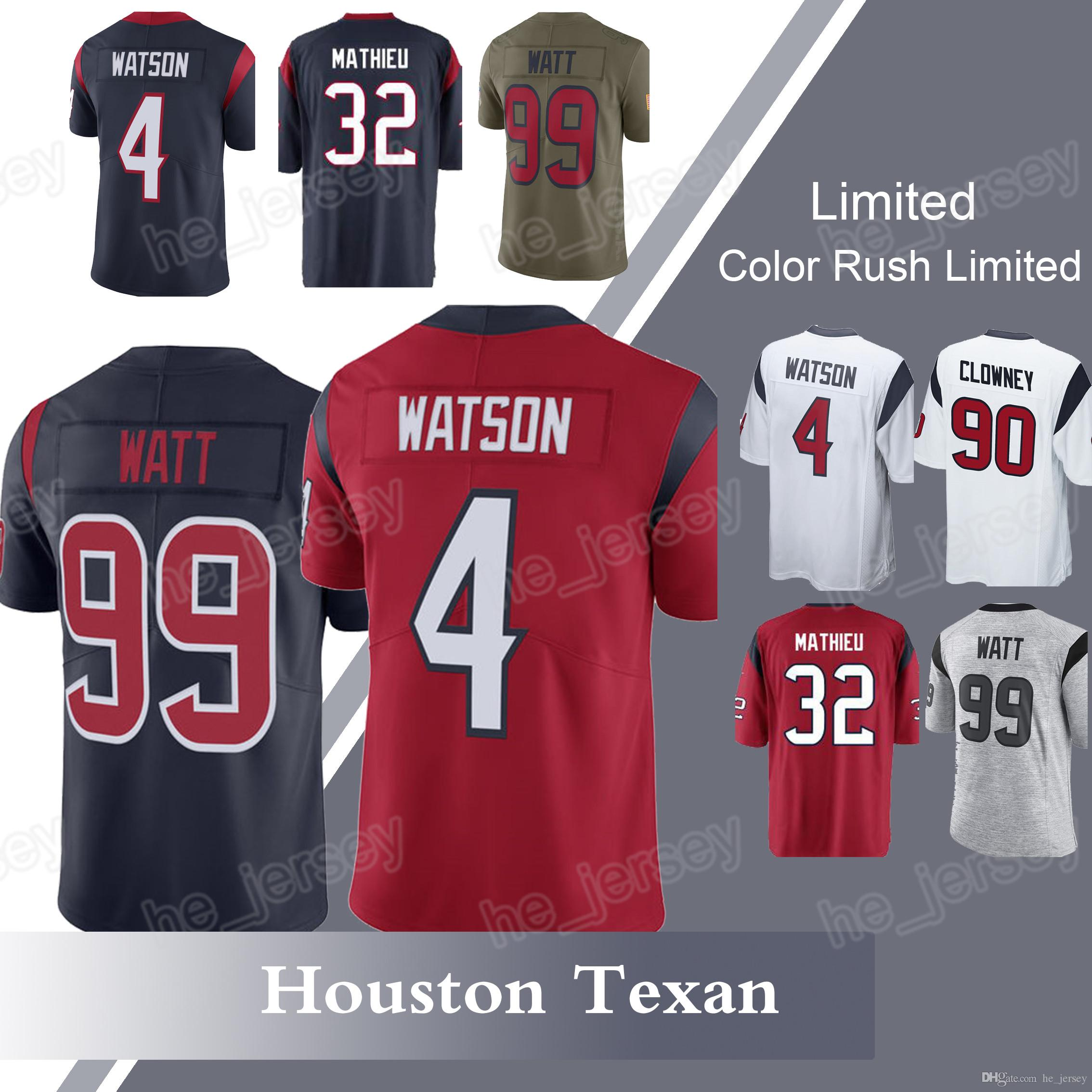 new styles ba4f8 5cd92 Men's Houston Texan 99 J.J. Watt 4 Deshaun Watson 32 Tyrann Mathieu 90  Jadeveon Clowney new jerseys