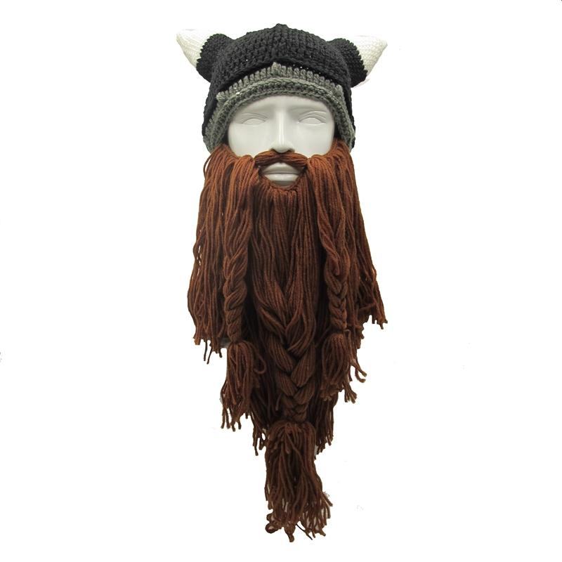 08a96f0f10f 2019 LMFC Funny Men S Winter Hats Barbarian Vagabond Viking Beard Hat Ox  Horn Handmade Beanie Knit Warm Man Caps Birthday Party Gifts From Pretty05