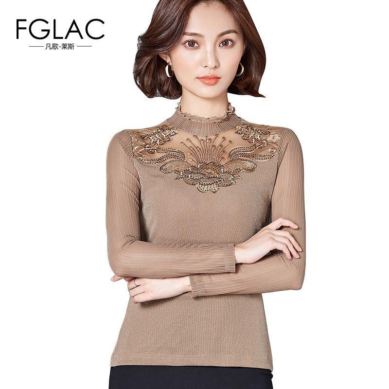 5f6e3b5798f FGLAC Women Blouse Shirt New Arrivals 2018 Fashion Mesh Tops Elegant ...