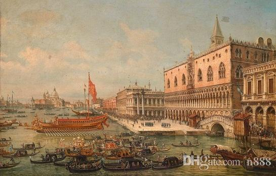 High Quality HD Canvas Print cityscape of Venice with church canoes and dragon boats Home Decor Wall Art l211