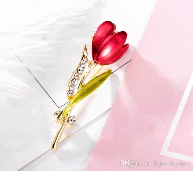 Элегантный Tulip цветок Брошь Pin Кристалл Бижутерия Детская одежда Девочки Аксессуары Ювелирные броши для свадьбы