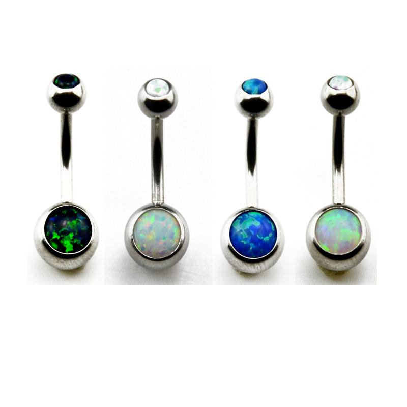 Showlove Opal Crustal Navel Belly Button Ring Ear Industrial Barbell Earrings Cartilage Piercing Gauge Body Jewelry