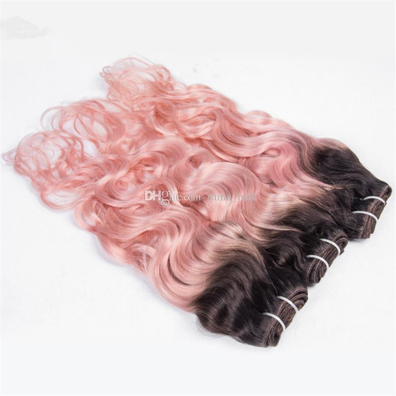 Pink Wavy Peruvian Virgin Human Hair Bundles Two Tone 1b Pink Ombre Hair Weave Deep Wave Curly Hair Weft