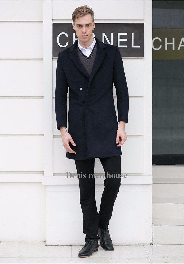 3d8f804f84ee 2016 Custom made Wool Jacket Men Business Casual Slim Fit Mens Pea Coat  British Style Wool   Blends Winter Coat