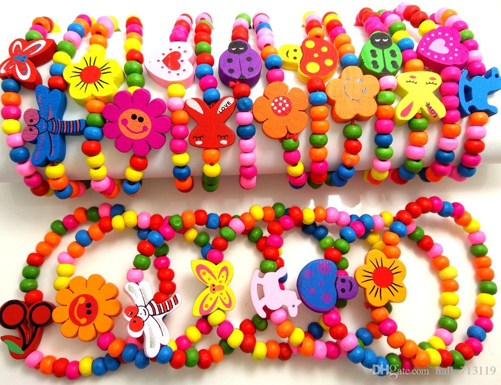 Girls Natural Wood Beads Bracelet 12 Styles Mix Children Wooden Wristbands Child Party Bag Fillers Birthday Gift Wholesale Jewelry