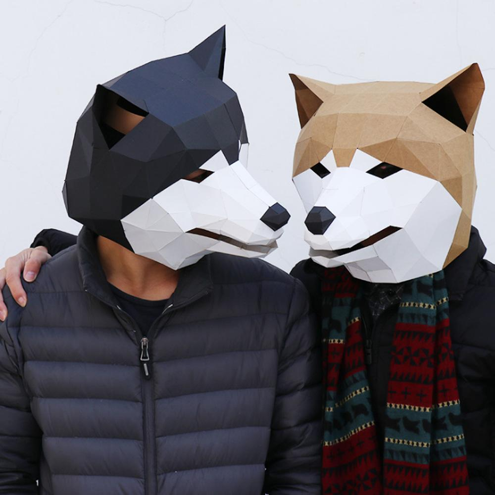 Diy Shiba Inu Mask Paper Head Cover Adult Cardboard Breathable