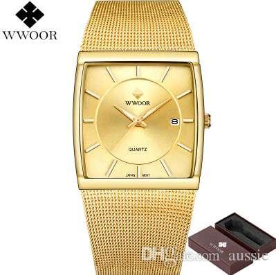 2637175f590 Compre Nova Wwoor Marca De Luxo Homens Quadrados À Prova D  água Relógio De  Ouro Dos Homens De Quartzo Relógios Desportivos Masculino Relógio De Aço ...