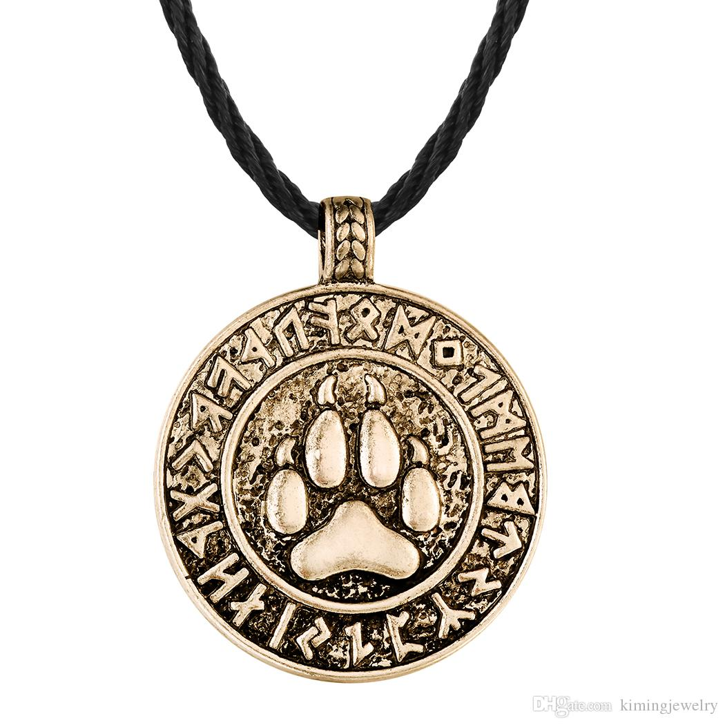 Bear Print Amulet Pendant Necklace The Norse Footprint Runes Round Charm Nordic Talisman Colier For Mens Slavic Jewelry
