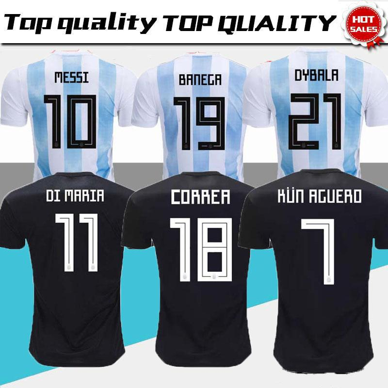 308a052ecd5 2019 Argentina Top Wholesale New Argentina World Cup Soccer Jersey 17 18  MESSI Home DI MARIA AGUERO Thai Quality Argentina Football Shirts 2017 From  ...