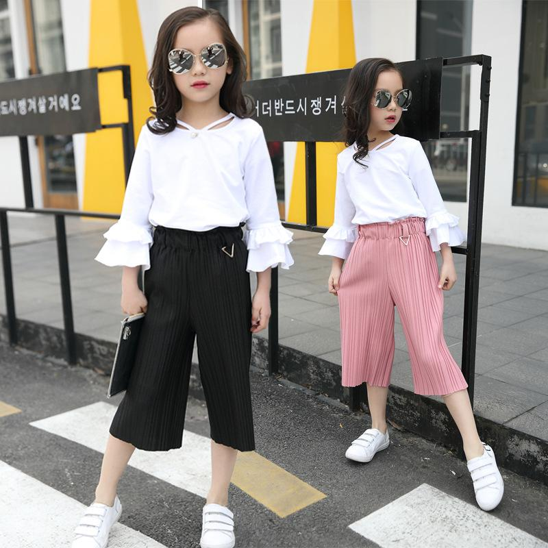 6a4997e81fe 2019 Girl Clothes Set Summer 2018 Children Clothing For Teenager 5 13 Years  Butterfly Sleeve White Shirt + Pant Kids Outfits From Universecp