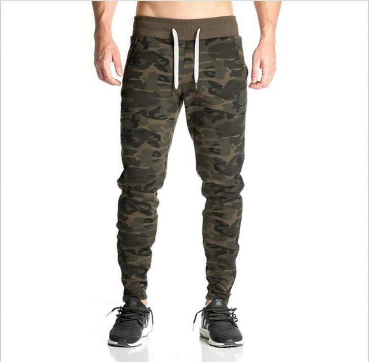 sleek world-wide free shipping united kingdom New Sports Fitness Camouflage Pants Stretch Cotton Men's Fitness Jogging  Pants Drawstring Zipper Bottom Body Engineers Jogger Outdoor